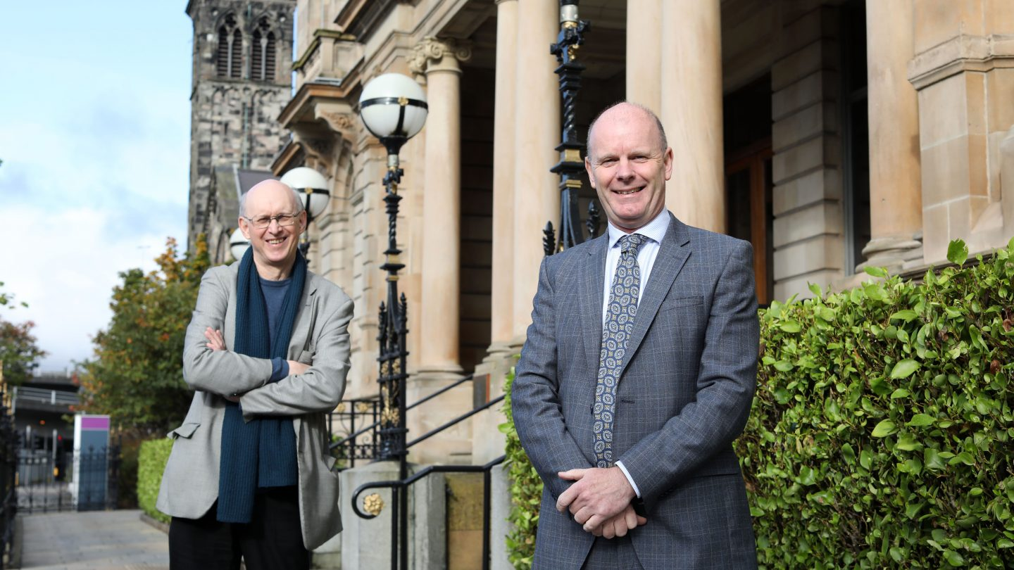Richard Wakely and Joe O'Neill pictured outside Belfast Harbour offices