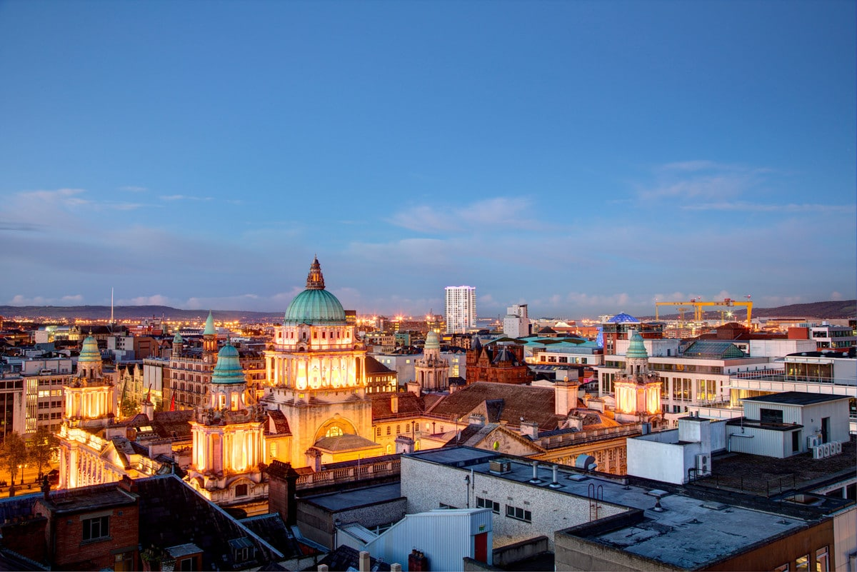 Belfast Skyline taken at dusk with City Hall in middle. Photographer Christopher Heaney Photographic Courtesy Of Visit Belfast, Copyright Christopher Heaney