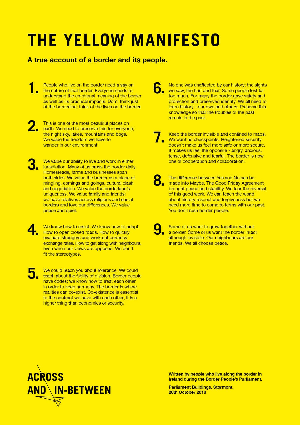 Across And Inbetween Yellow Manifesto