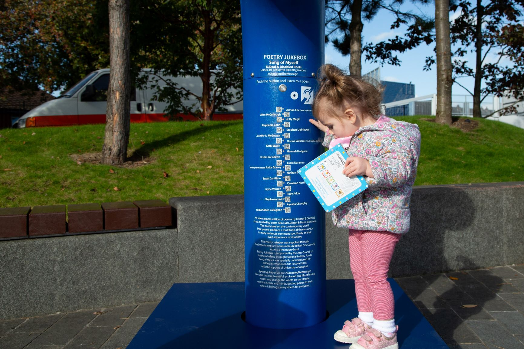 Poetry Jukebox at CS Lewis Square with features for D/deaf and disabled users
