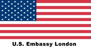 Us Flag With Us Embassy Text Color 96dpi