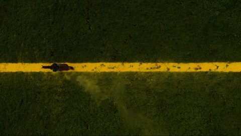 The Yellow Line: an aerial view looking down on a green field, which has a yellow line running across it, to mark a border. A single horse is galloping along it, its hooves leaving marks in the yellow line